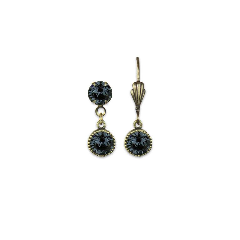 Swarovski® Bezel Set Brass Earrings Graphite | Anne Koplik Designs Jewelry | Vintage Inspired Jewelry Handcrafted in America with Crystals from Swarovski®