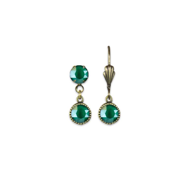 Swarovski® Bezel Set Brass Earrings Royal Green | Anne Koplik Designs Jewelry | Vintage Inspired Jewelry Handcrafted in America with Crystals from Swarovski®
