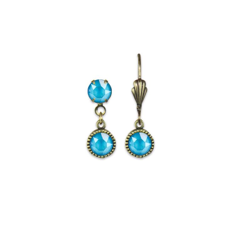 Swarovski® Bezel Set Brass Earrings Summer Blue | Anne Koplik Designs Jewelry | Vintage Inspired Jewelry Handcrafted in America with Crystals from Swarovski®