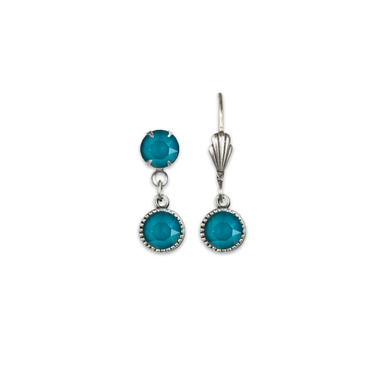 Swarovski® Bezel Set Silver Earrings Azure Blue   Anne Koplik Designs Jewelry   Vintage Inspired Jewelry Handcrafted in America with Crystals from Swarovski®