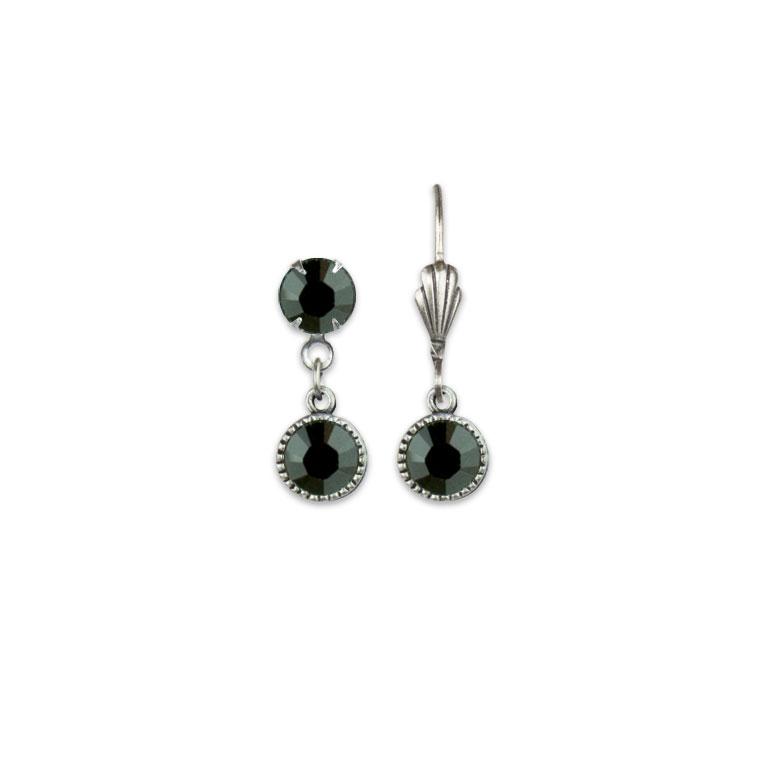 Swarovski® Bezel Set Silver Earrings Jet Black   Anne Koplik Designs Jewelry   Vintage Inspired Jewelry Handcrafted in America with Crystals from Swarovski®
