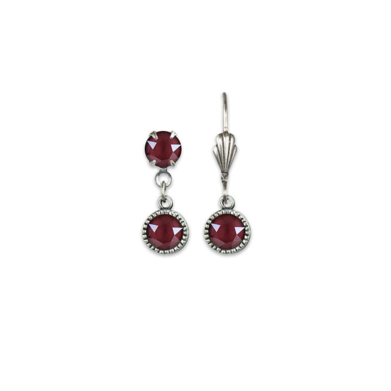 Swarovski® Bezel Set Silver Earrings Dark Red   Anne Koplik Designs Jewelry   Vintage Inspired Jewelry Handcrafted in America with Crystals from Swarovski®