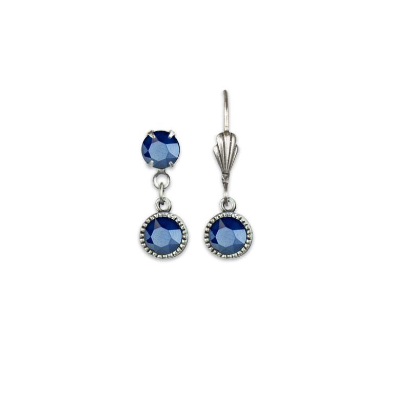 Swarovski® Bezel Set Silver Earrings Royal Blue   Anne Koplik Designs Jewelry   Vintage Inspired Jewelry Handcrafted in America with Crystals from Swarovski®