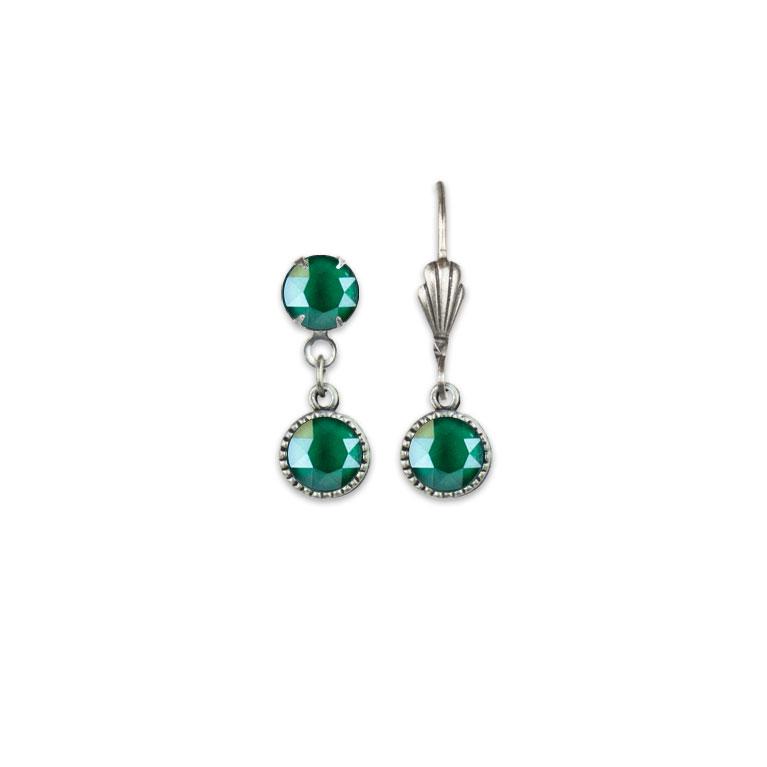 Swarovski® Bezel Set Silver Earrings Royal Green | Anne Koplik Designs Jewelry | Vintage Inspired Jewelry Handcrafted in America with Crystals from Swarovski®