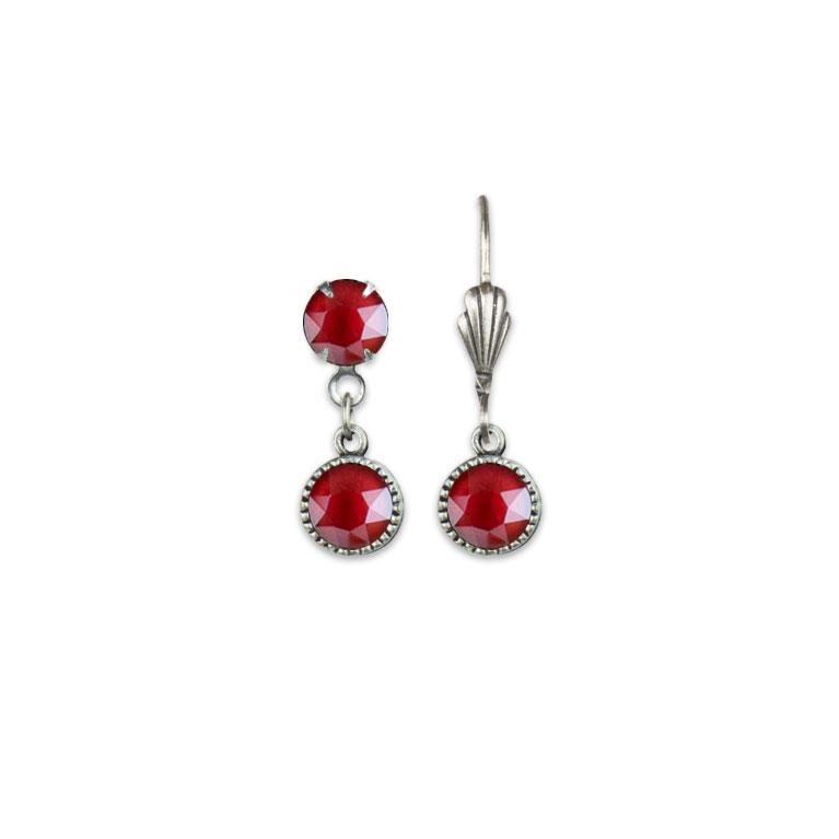 Swarovski® Bezel Set Silver Earrings Royal Red | Anne Koplik Designs Jewelry | Vintage Inspired Jewelry Handcrafted in America with Crystals from Swarovski®