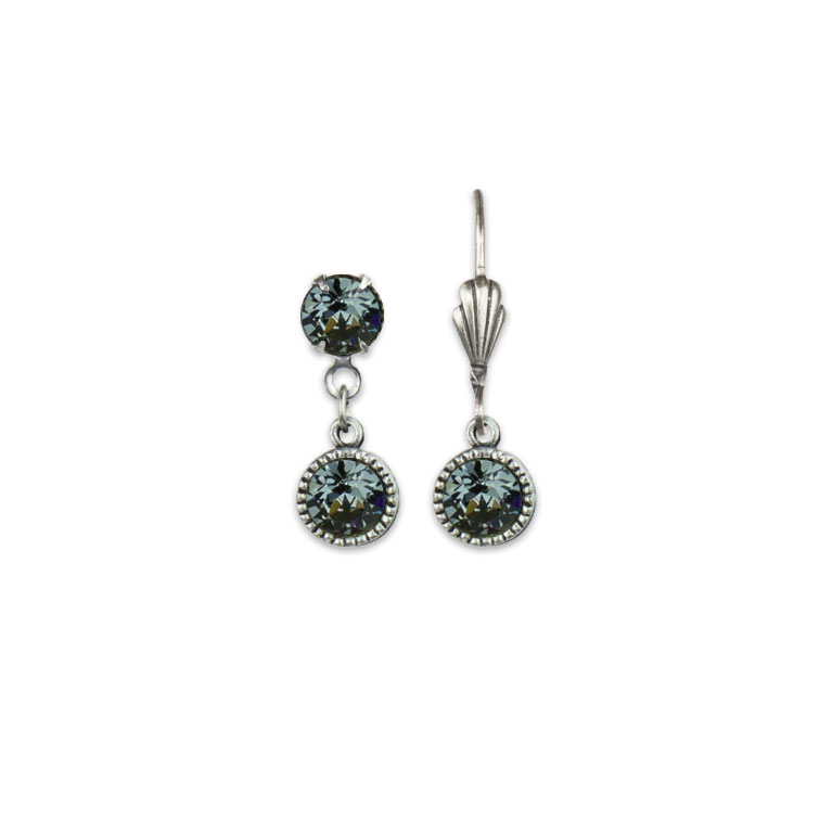 Swarovski® Bezel Set Silver Earrings Silver Night | Anne Koplik Designs Jewelry | Vintage Inspired Jewelry Handcrafted in America with Crystals from Swarovski®