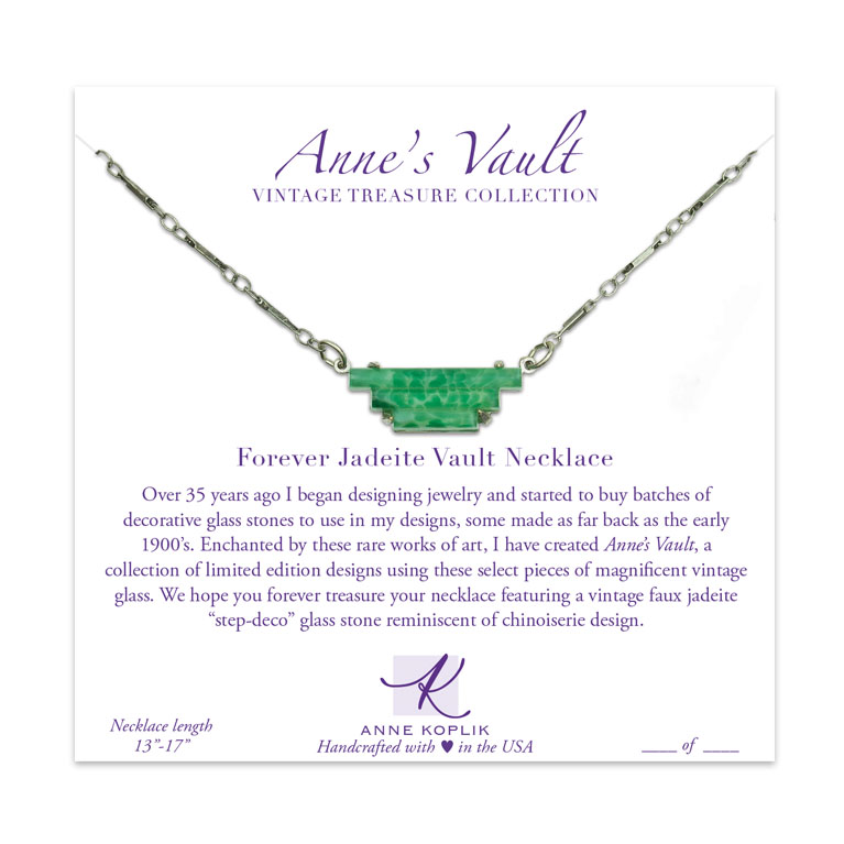 Forever Jadeite Vault Necklace | Anne Koplik Designs Jewelry | Vintage Inspired Jewelry Handcrafted in America with Crystals from Swarovski®