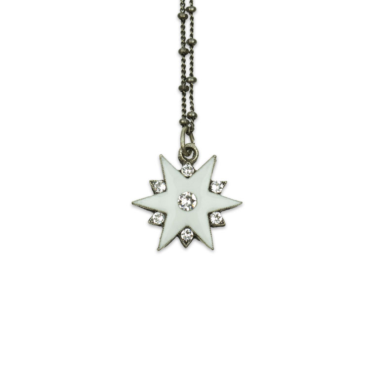 Winter White Snowflake Star Necklace   Anne Koplik Designs   Vintage Inspired Jewelry Handcrafted in America with Crystals from Swarovski®