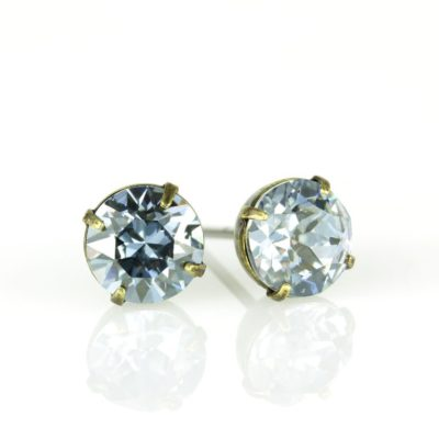 Brass Blue Shade Swarovski® Crystal Stud Earrings available at Anne Koplik Designs, your source for Brass Swarovski Stud Earrings