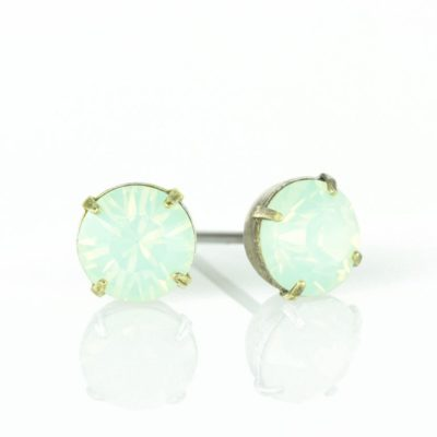 Brass Chrysolite Opal Swarovski® Crystal Stud Earrings available at Anne Koplik Designs, your source for Brass Swarovski Stud Earrings
