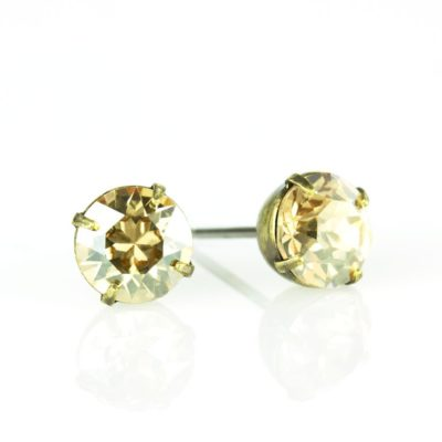 Brass Crystal Golden Shadow Swarovski® Crystal Stud Earrings available at Anne Koplik Designs, your source for Brass Swarovski Stud Earrings