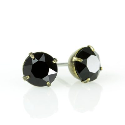 Brass Jet Black Swarovski® Crystal Stud Earrings available at Anne Koplik Designs, your source for Brass Swarovski Stud Earrings