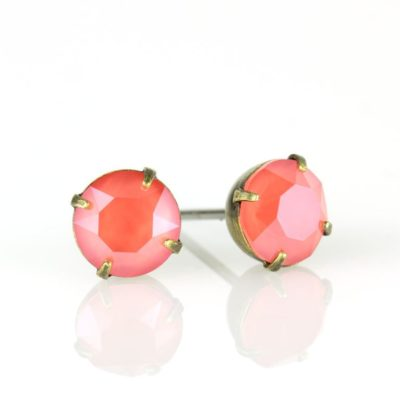 Brass Light Coral Swarovski® Crystal Stud Earrings available at Anne Koplik Designs, your source for Brass Swarovski Stud Earrings