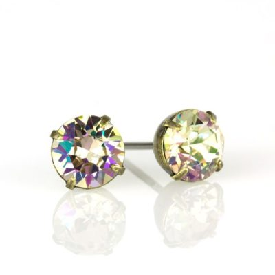 Brass Luminous Green Swarovski® Crystal Stud Earrings available at Anne Koplik Designs, your source for Brass Swarovski Stud Earrings