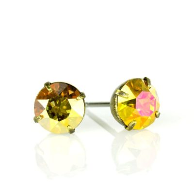 Brass Metallic Sunshine Swarovski® Crystal Stud Earrings available at Anne Koplik Designs, your source for Brass Swarovski Stud Earrings