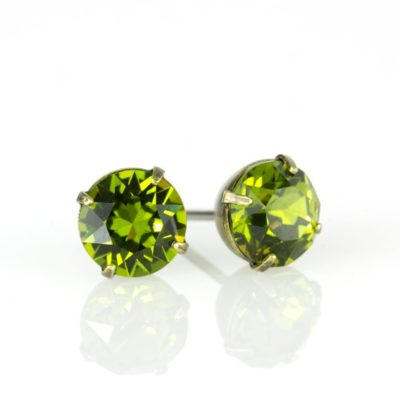 Brass Olivine Swarovski® Crystal Stud Earrings available at Anne Koplik Designs, your source for Brass Swarovski Stud Earrings