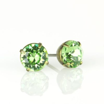 Brass Peridot Swarovski® Crystal Stud Earrings available at Anne Koplik Designs, your source for Brass Swarovski Stud Earrings