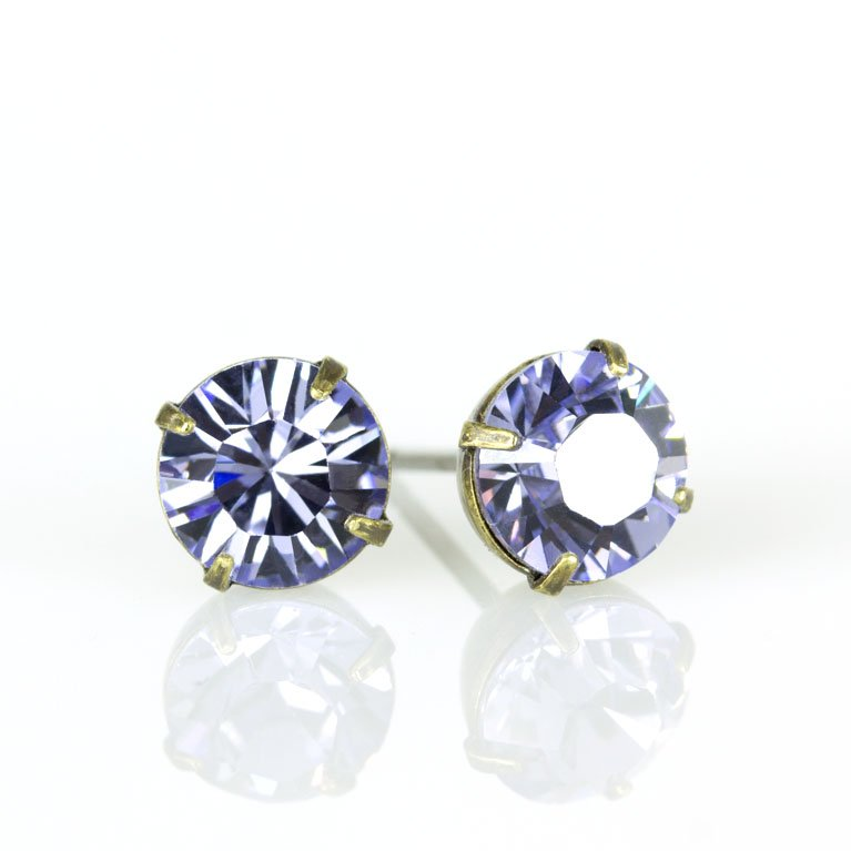 4b754b39eec2f Brass Provence Lavender Swarovski® Crystal Stud Earrings