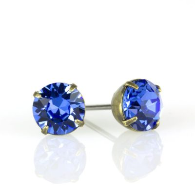 Brass Sapphire Swarovski® Crystal Stud Earrings available at Anne Koplik Designs, your source for Brass Swarovski Stud Earrings