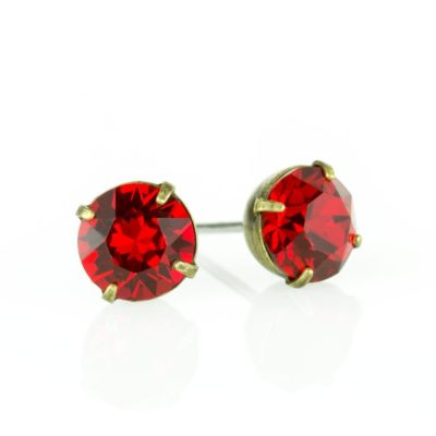 Brass Scarlet Swarovski® Crystal Stud Earrings available at Anne Koplik Designs, your source for Brass Swarovski Stud Earrings