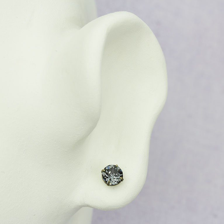 Brass Silver Night Swarovski® Crystal Stud Earrings available at Anne Koplik Designs, your source for Brass Swarovski Stud Earrings