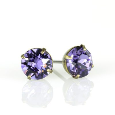Brass Tananite Swarovski® Crystal Stud Earrings available at Anne Koplik Designs, your source for Brass Swarovski Stud Earrings