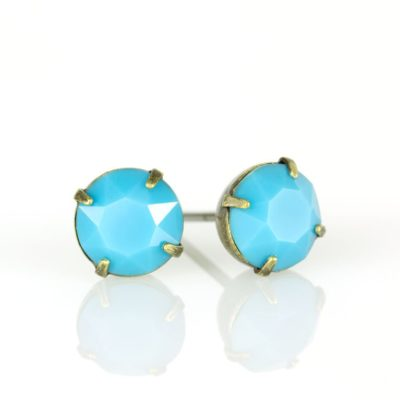 Brass Turquoise Swarovski® Crystal Stud Earrings available at Anne Koplik Designs, your source for Brass Swarovski Stud Earrings