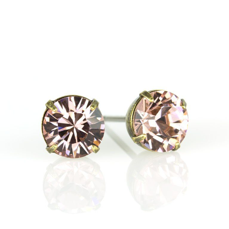Brass Vintage Rose Swarovski® Crystal Stud Earrings available at Anne Koplik Designs, your source for Brass Swarovski Stud Earrings