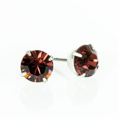 Silver Burgundy Swarovski® Crystal Stud Earrings available at Anne Koplik Designs, your source for Silver Swarovski Stud Earrings