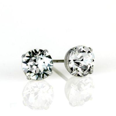 Silver Crystal Swarovski® Crystal Stud Earrings available at Anne Koplik Designs, your source for Silver Swarovski Stud Earrings