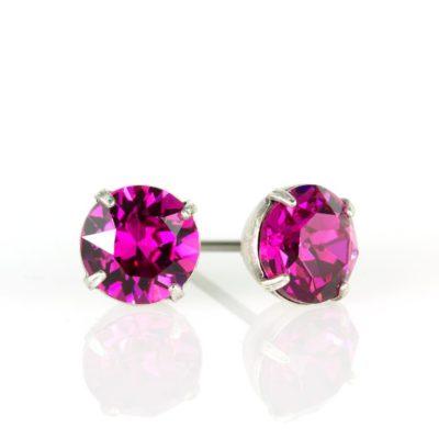 Silver Fucshia Swarovski® Crystal Stud Earrings available at Anne Koplik Designs, your source for Silver Swarovski Stud Earrings