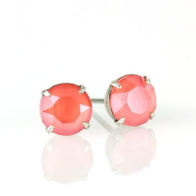 Silver Light Coral Swarovski® Crystal Stud Earrings available at Anne Koplik Designs, your source for Silver Swarovski Stud Earrings