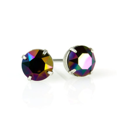 Silver Rainbow Dark Swarovski® Crystal Stud Earrings available at Anne Koplik Designs, your source for Silver Swarovski Stud Earrings