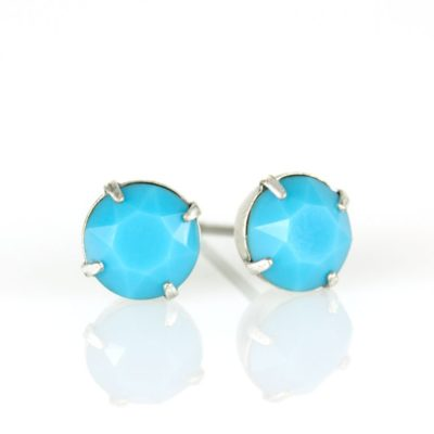 Silver Turquoise Swarovski® Crystal Stud Earrings available at Anne Koplik Designs, your source for Silver Swarovski Stud Earrings