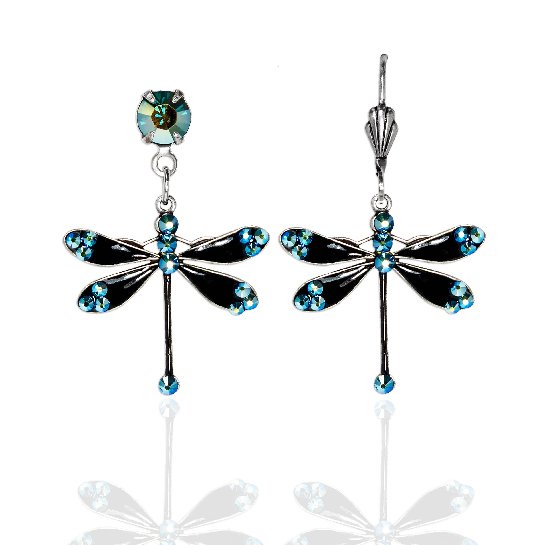 Sylvia  Crystal Dragonfly Earrings
