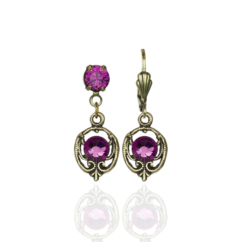 Madeline  Crystal Earrings in Brass