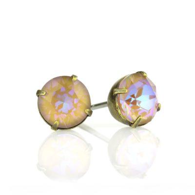 Cappuccino DeLite Crystal Brass Stud Earrings