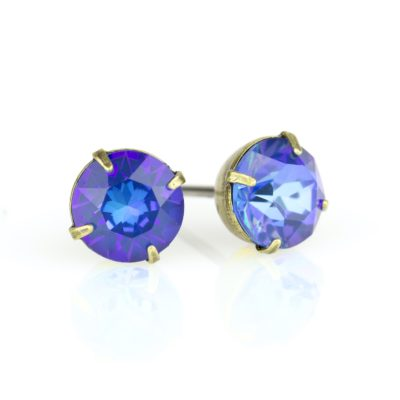 Royal Blue DeLite Crystal Brass Stud Earrings