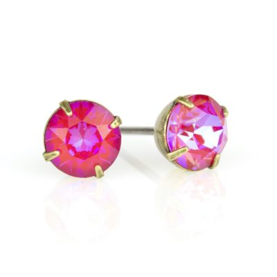 Royal Red DeLite Crystal Brass Stud Earrings