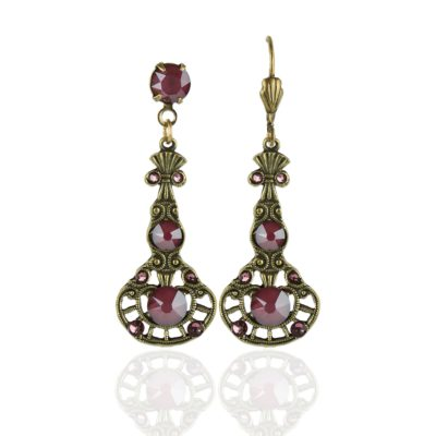 Umeko Swarovski® Dark Red Antique Pink Earrings