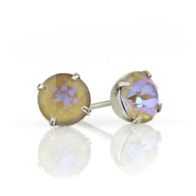 Cappuccino DeLite Crystal Silver Stud Earrings