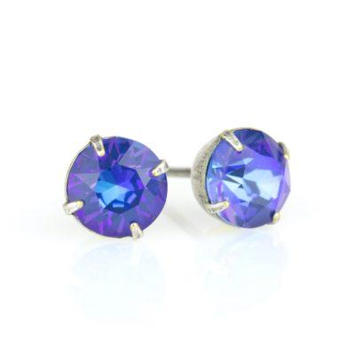 Royal Blue DeLite Crystal Silver Stud Earrings