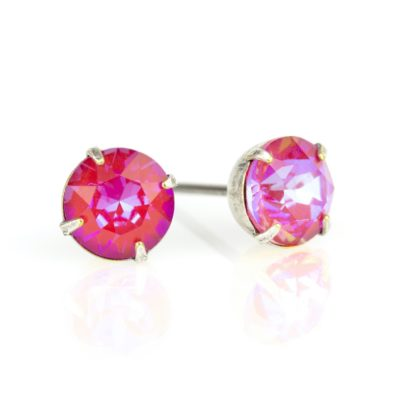 Royal Red DeLite Crystal Silver Stud Earrings
