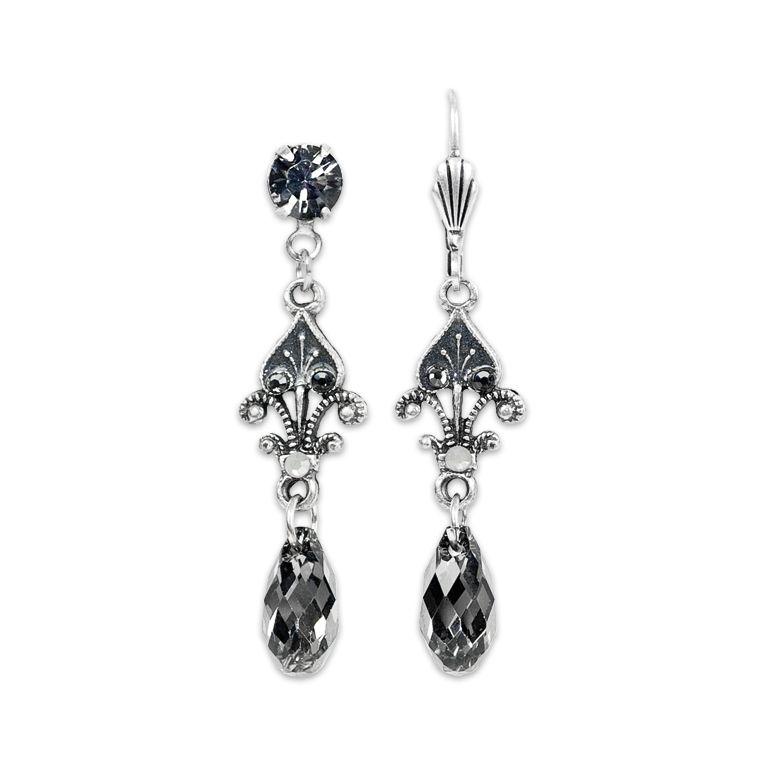 Kalas Spade Silver Night Earrings