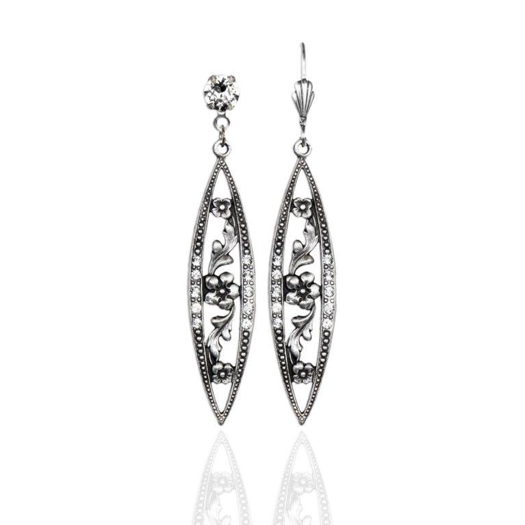 Tess Pointed Teardrop Floral Frame Earring