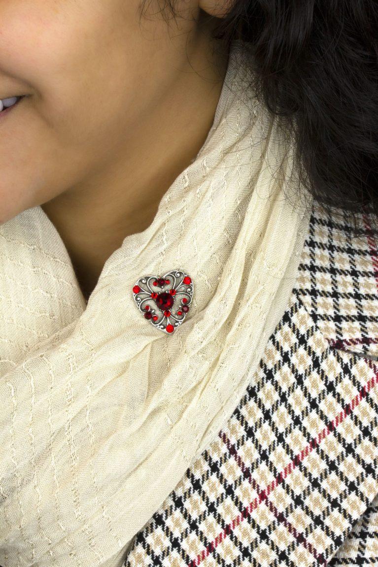 Scarlett Red Crystal Heart Pin