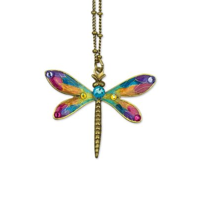 Amelia Dragonfly Necklace available at Anne Koplik Designs, your source for brass Swarovski Stud Earrings