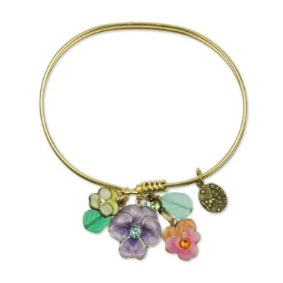 Blooming Bundles Charm Bracelet available at Anne Koplik Designs, your source for brass Swarovski Stud Earrings