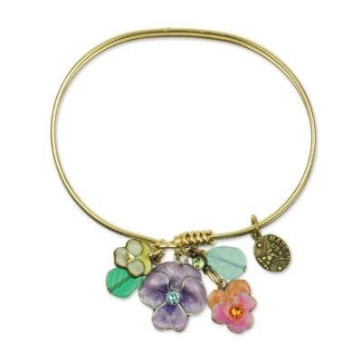 Blooming Bundles Charm Bracelet available at Anne Koplik Designs, your source for brass Swarovski Stud Earrings