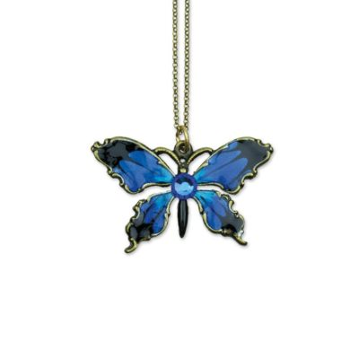 Briny Bermuda Blue Wish Granters Butterfly Necklace by Anne Koplik Designs jewelry, handcrafted brass necklaces made in Brewster NY
